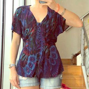 Nanette Lepore sz 10 100% silk multi colored blous